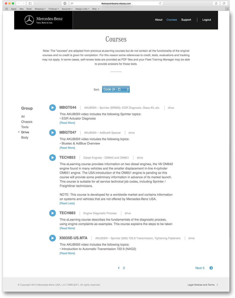 Courses by Code