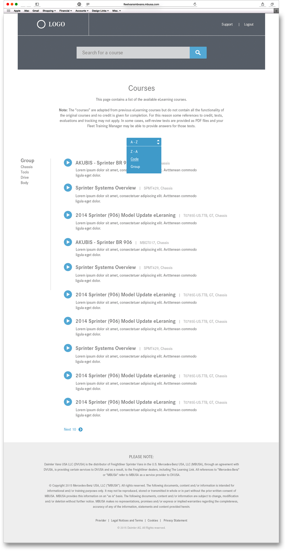 Courses Page Wireframe
